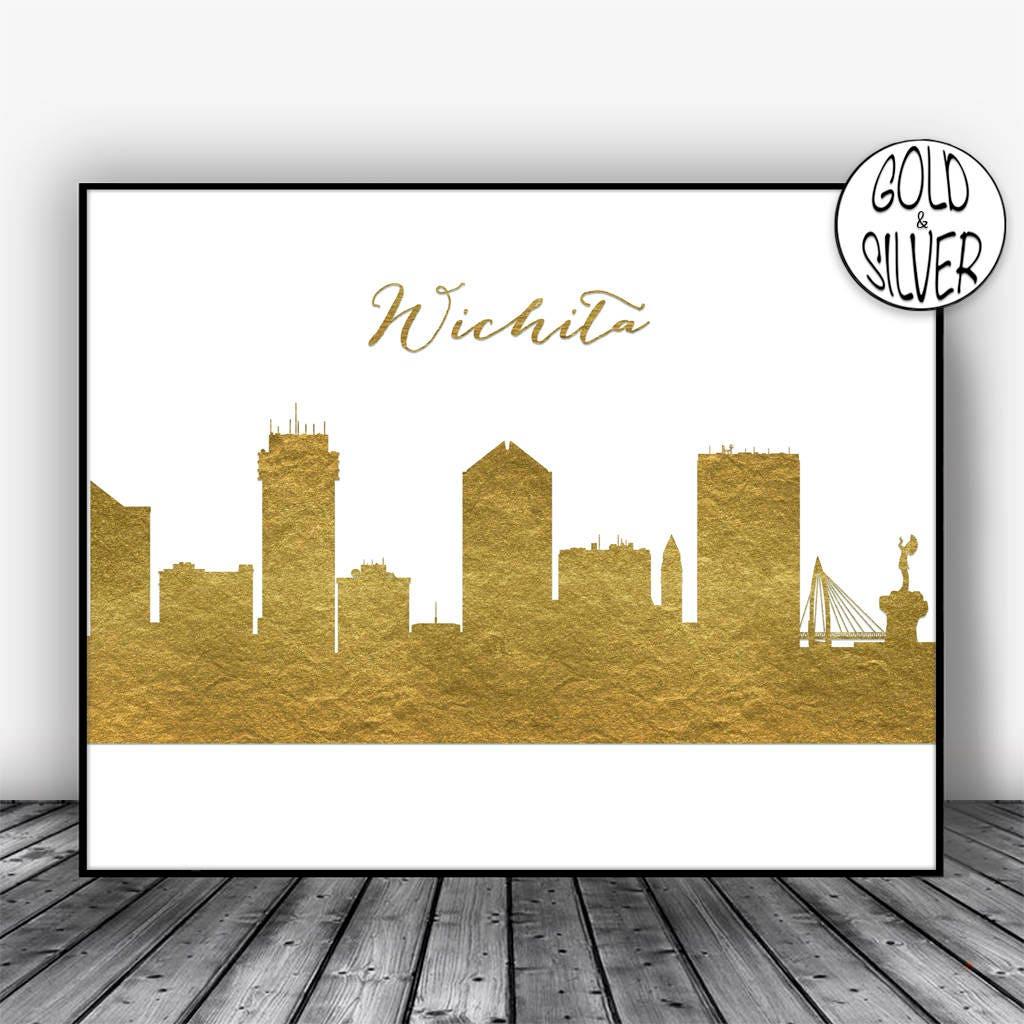 Wichita Skyline Wichita Kansas City Art Print Wichita | Etsy
