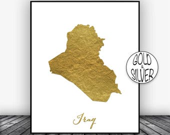 Iraq Print, Iraq Art Print, Home Decor, Iraq Map Art, Wall Art Decor, Home Wall Decor, Living Room Decor, Wall Prints, GoldArtPrint