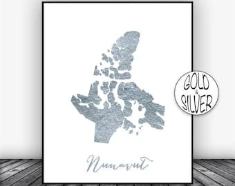 Nunavut Print, Office Art Print, Gold Decor Nunavut Map Print, Map Art Map Artwork Office Decor, Country Map, GoldArtPrint