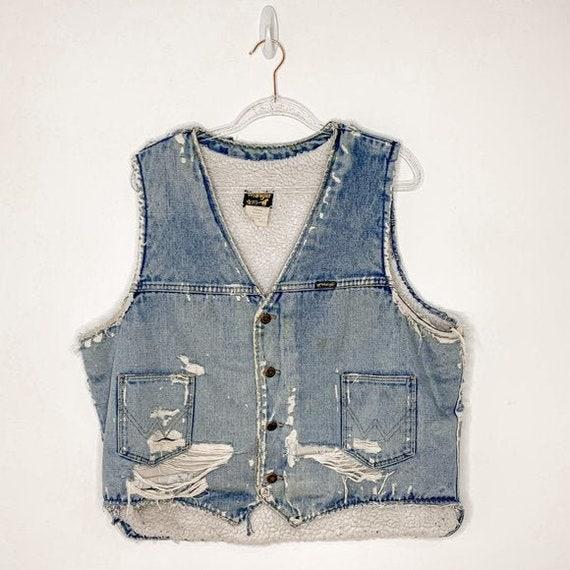 Vintage 70s WRANGLER distressed denim sherpa vest