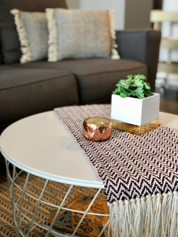 Woven Coffee Table Runner Etsy