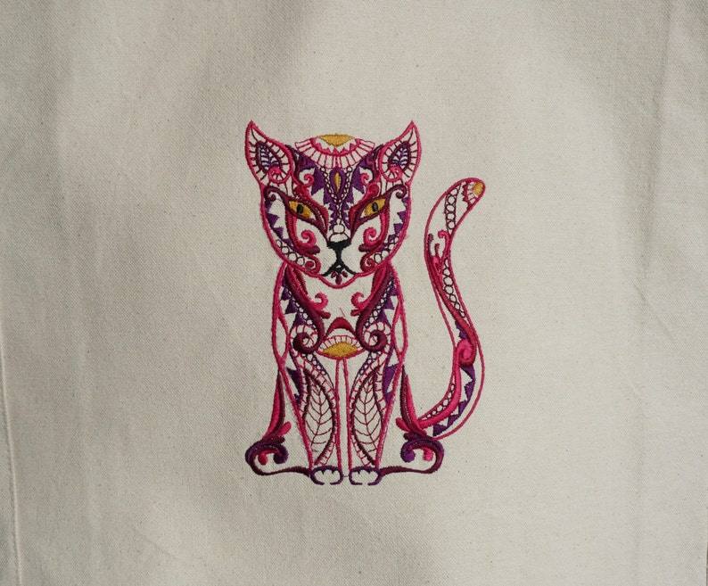 Eco-Friendly Reusable Bag Custom Embroidered Cat Canvas Tote Bag