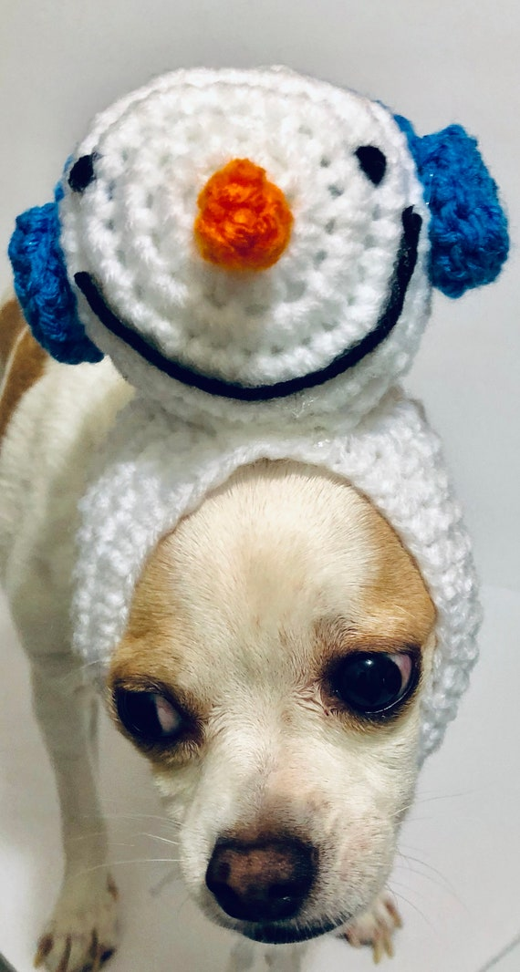 fd2a12850f2 Snowman Dog Hat Crochet Dog Hat Dog Clothes Pet