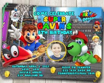 Super Mario Odyssey compleanno invito - Mario Yoshi Cappy - Super Mario  Bros foto invitare - Mario Party - inviti stampabili o stampati 9c63c04473e2