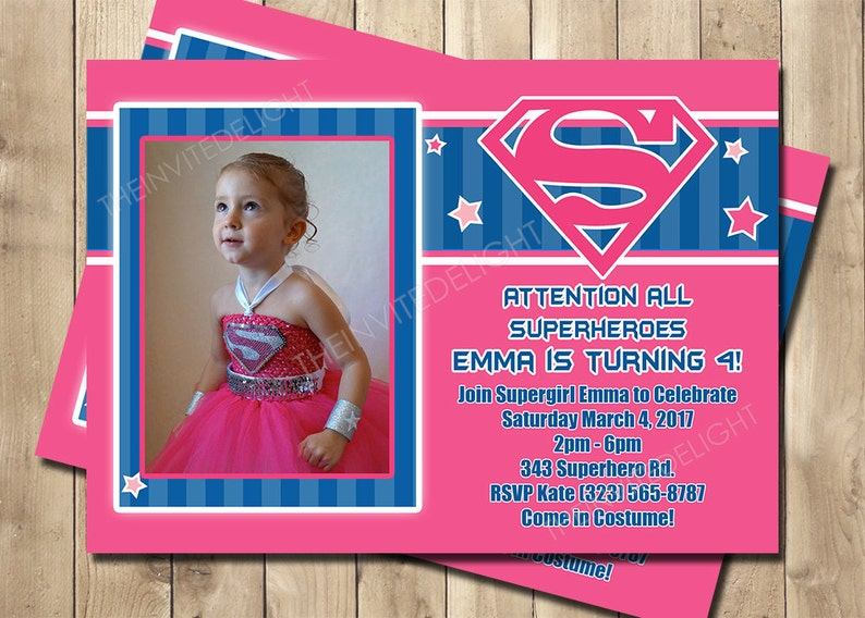 Supergirl Birthday Invitation Superhero Party Pink