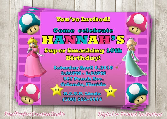 Super Mario Bros Princess Peach Birthday Invitation