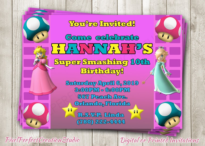 Super Mario Bros Princess Peach Birthday Invitation