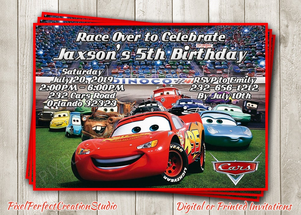 Cars Birthday Invitation 2 Party Invite Disney