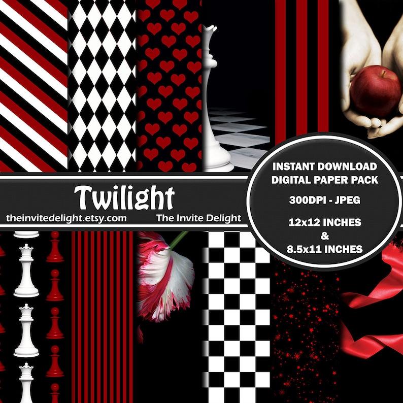 Twilight Digital Paper Pack New Moon Eclipse Breaking Dawn image 0