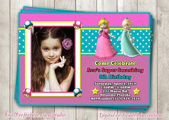 Super Mario Bros Princess Peach Birthday Invitation Rosalina