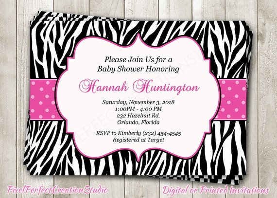 Pink zebra print baby shower invitation hot pink black white etsy image 0 filmwisefo