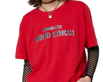 5a35a9aff6f Directed By David Lynch T shirt Boyfriend Oversized Womens Tee Top Tumblr  Grunge Hipster Retro Red Vintage 90s Kawaii Art Hoe Aesthetic