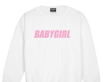 72f24f389fcc Babygirl Sweater Jumper Womens Ladies Sweatshirt Tumblr Slogan Kawaii Fun  Pink Cotton Baby Girl Harajuku Hipster Swag Fashion Grunge Cute
