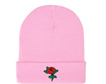 0ce5ea92e4f Rose Beanie Hat Embroidered Grey Black Pink Grunge Hipster Goth Tumblr  Womens Mens Funny Fun Kawaii Retro Cute Patch Fashion Flower Floral
