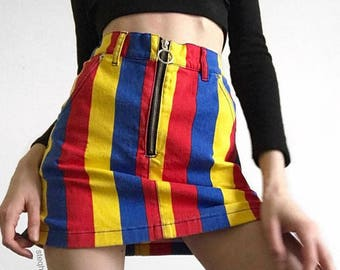 Striped Denim Skirt Mini Womens Ladies High Waist Print Rainbow Vintage Retro 90s Tumblr Hipster Fashion Grunge Multi Color Festival