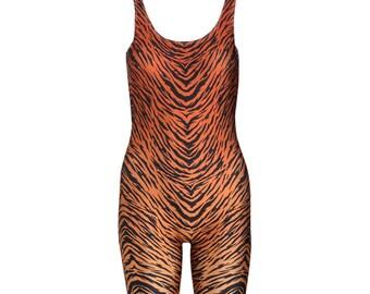 fe52bc9024 Tiger Brown Unitard Catsuit Jumpsuit Romper Top Womens Ladies Tumblr  Hipster Grunge Retro Vtg Indie Bogho Festival Animal Print Leopard