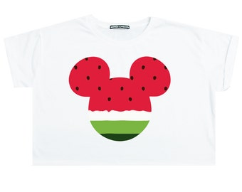 37dd8310ffa688 Mouse Watermelon Crop Top T Shirt Tee Womens Girl Funny Tumblr Hipster Swag  Grunge Goth Punk Fashion Girl Festival Ears Cute Pink Kawaii