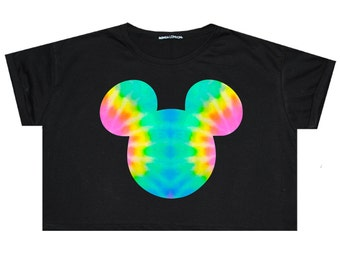 e96fa94754685 Mouse Tie Dye Crop Top T Shirt Tee Womens Girl Funny Tumblr Hipster Grunge  Goth Punk Fashion Festival Boho Floral Ears Rainbow Print Color