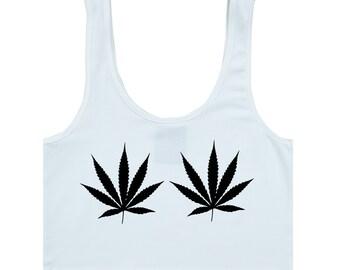121f674564da5 Weed Cannabis Bra Top Crop T Shirt Womens Girls Fun Tumblr Hipster Swag  Grunge Kale Goth Punk 90s Retro Vtg Marijuana Drugs High Festival