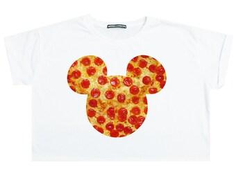ce85aaa22c0e6 Mouse Pizza Crop Top T Shirt Womens Girl Funny Tumblr Hipster Grunge Goth  Punk Fashion Festival Boho Floral Ears Cute Kawaii Food Print