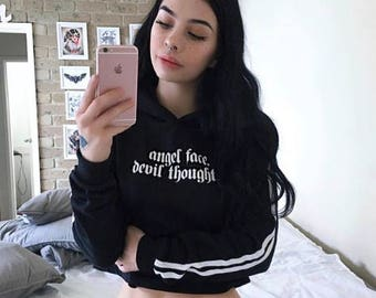 08f0294c5d343 Angel Face Devil Thoughts Crop Sweater Jumper Top T Shirt Womens Ladies Girl  Tumblr Hipster Baby Doll Grunge Swag Goth Kawaii Cute Baby Doll