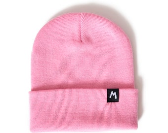 Pink Basic Beanie Knit Hat Womens Mens Unisex Fashion Grunge Hipster Tumblr  Retro Vintage Rainbow Fun Winter Black Cute Baby Warm Ribbed bc99ac82ec4