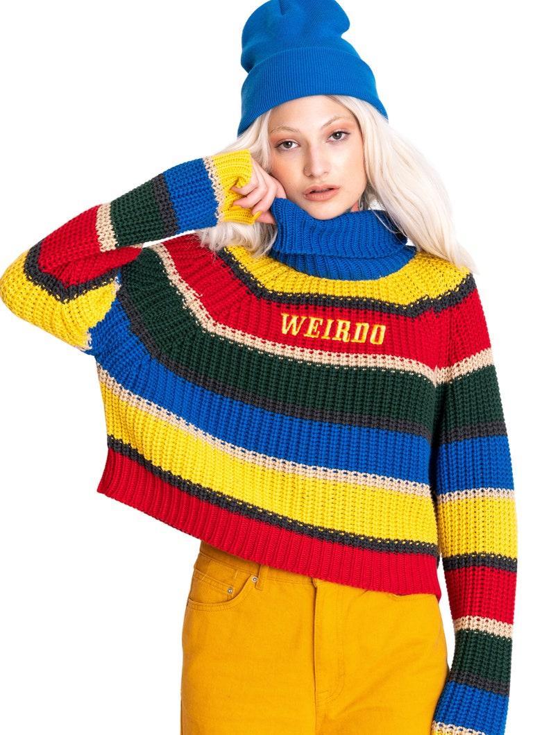 9b0f351dd6 Weirdo Knit Striped Jumper Sweater Top Crop Womens Knitted