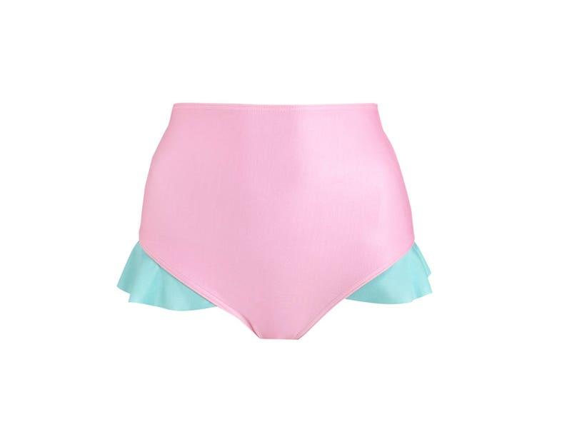 cdf5a46b318 Mermaid Pink Frill Bikini Bottom High Waist Womens Swimsuit | Etsy