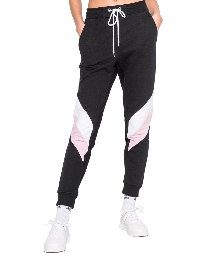 489796e923a Pink Color Block Joggers Track Pants Tracksuit Womens Ladies | Etsy