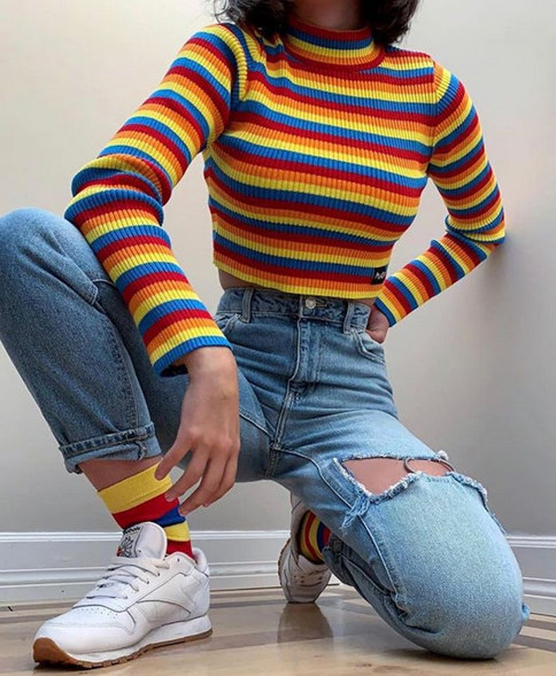 a0e8f626cb9af3 Rainbow Ribbed Top Crop Womens Striped Knitted T-shirt Long