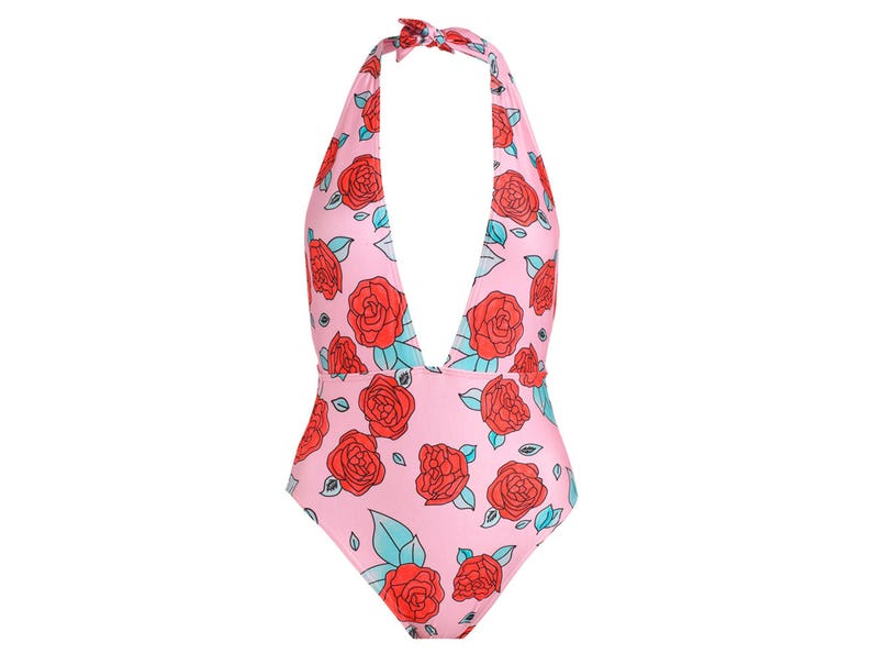 d5cd015ad30 Roses Plunge Swimsuit Metallic Bikini Womens Ladies Bodysuit | Etsy