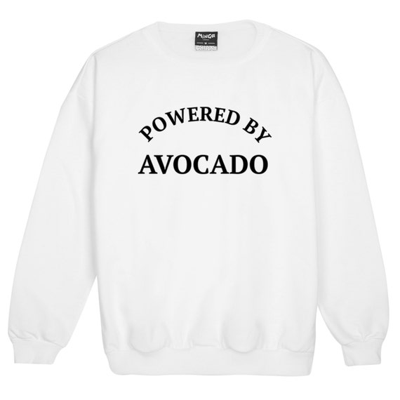 033db8b2c7 Powered By Avocado Sweater Jumper Funny Fun Tumblr Hipster