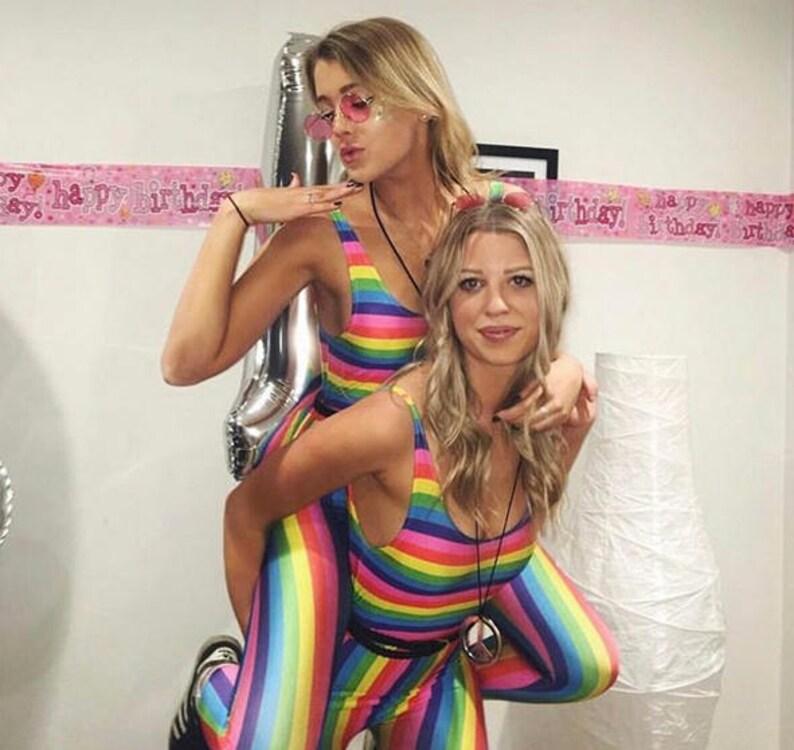 97433acb263 Rainbow Stripes Unitard Catsuit Jumpsuit Romper Top Womens