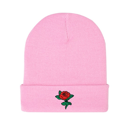 sale uk uk store order Rose Beanie Hat Embroidered Grey Black Pink Grunge Hipster Goth Tumblr  Womens Mens Funny Fun Kawaii Retro Cute Patch Fashion Flower Floral