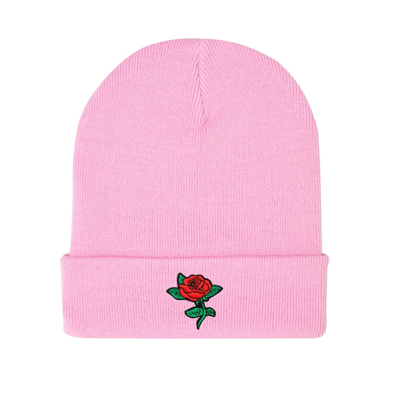 66b48f507e9 Rose Beanie Hat Embroidered Grey Black Pink Grunge Hipster