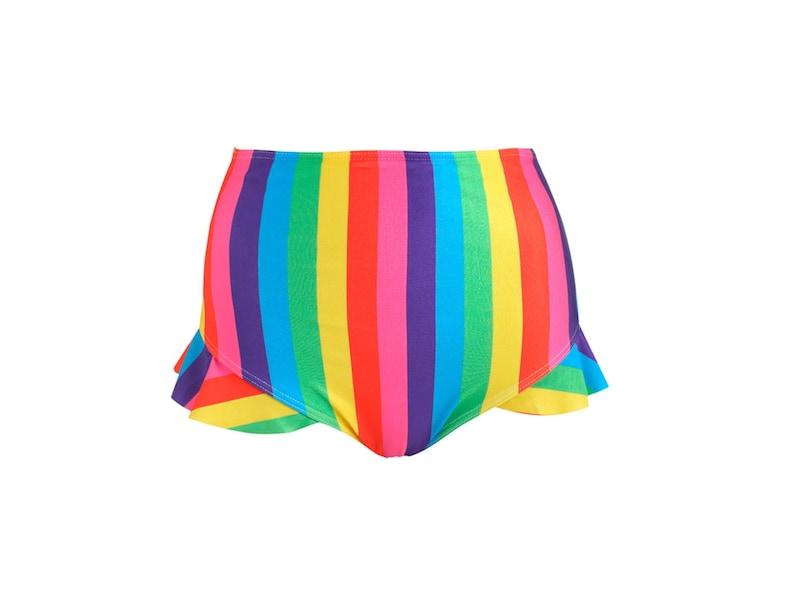 99ca4718fe7 Rainbow Stripes Frill Bikini Bottom High Waist Womens Swimsuit | Etsy