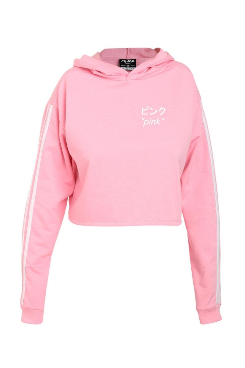 8654c2aa6 Pink Japanese Crop Sweater Jumper Top T Shirt Womens Ladies