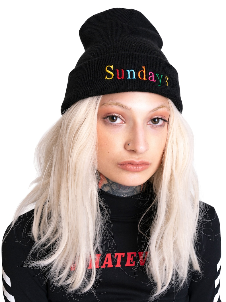 b4c89632bfb Sundays Beanie Hat Embroidered Black Knit Rainbow Grunge