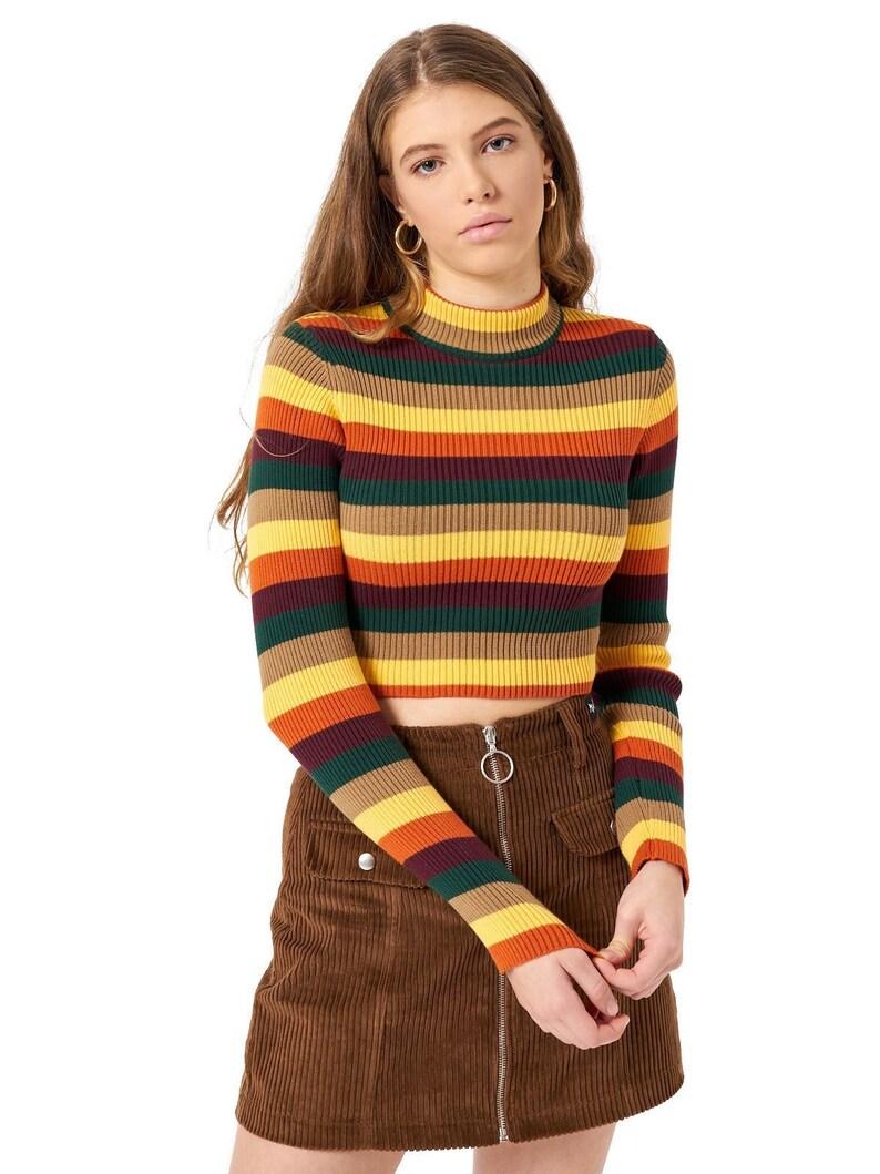 f1b1fa683777a7 Deep Warm Stripes Ribbed Knit Top Crop Womens Ladies Jumper