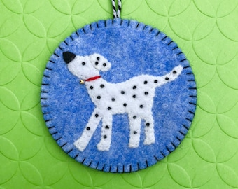 Wool Felt Dalmation Dog Ornament, Puppy, Hanging Decoration, Hanging Ornament, Applique, Handmade.