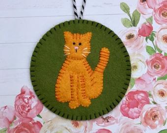 Wool Felt Tiger Striped Cat Ornament, Orange Tiger Cat, Kitty, Kitten, Hanging Decoration, Hanging Ornament, Applique, Handmade