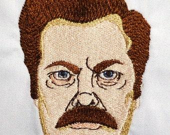 Ron Swanson 4x4 machine embroidery design