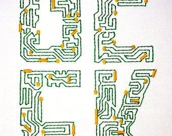 Computer Geek Circuit Board machine embroidery design 5x7