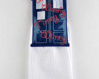 TARDIS Wishy Washy Timey Wimey towel topper ITH machine embroidery design 5x7