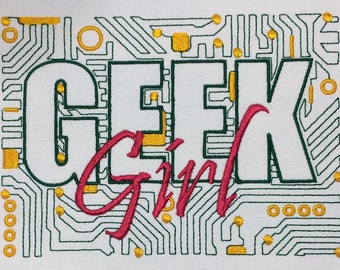 Geek Girl Circuit Board machine embroidery design 5x7
