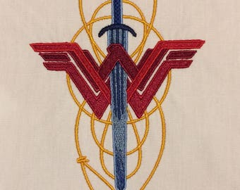 Wonder Woman lasso & sword machine embroidery design 5x7