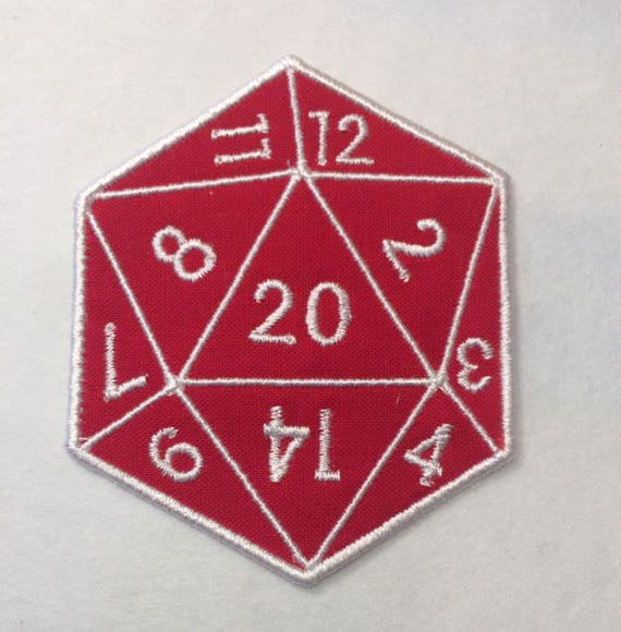 D20 20 Sided Die Badgepatchappliqu Embroidery Pattern Etsy