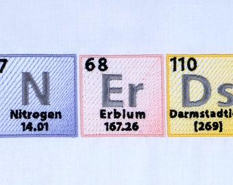 "Periodic table ""Nerds"" machine embroidery design 5x7"
