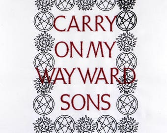 Supernatural Carry on my wayward sons machine embroidery design 5x7