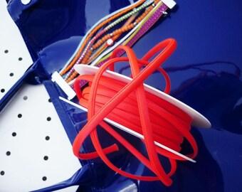 Cordon spaghetti orange corail fluo en satin - 7 mm - vente au mètre